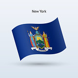 State of New York flag waving form. Vector illustration.