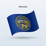 State of Nebraska flag waving form. Vector illustration.