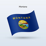 State of Montana flag waving form. Vector illustration.