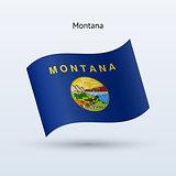 State of Montana flag waving form. Vector illustration.