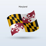 State of Maryland flag waving form. Vector illustration.