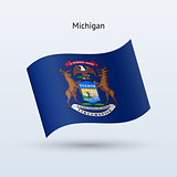 State of Michigan flag waving form. Vector illustration.
