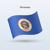 State of Minnesota flag waving form. Vector illustration.