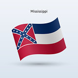 State of Mississippi flag waving form. Vector illustration.