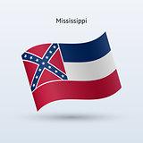 State of Mississippi flag waving form. Vector illustration.