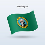 State of Washington flag waving form. Vector illustration.
