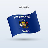 State of Wisconsin flag waving form. Vector illustration.