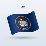 State of Utah flag waving form. Vector illustration.