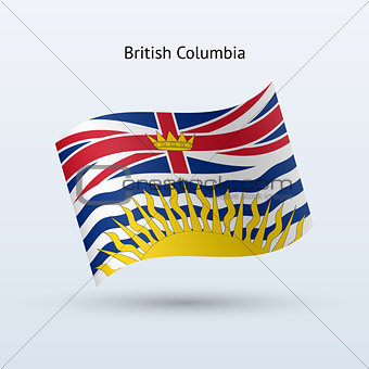 Canadian province of British Columbia flag waving form.