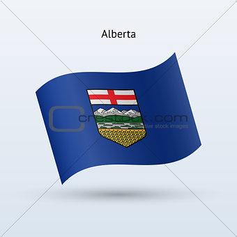 Canadian province of Alberta flag waving form. Vector illustration.