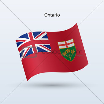 Canadian province of Ontario flag waving form.