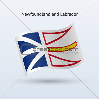 Canadian province of Newfoundland and Labrador flag waving form.