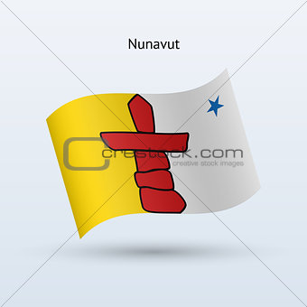 Canadian territory of Nunavut flag waving form.
