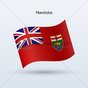 Canadian province of Manitoba flag waving form. Vector illustration.