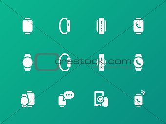 Smart watch icons on green background.