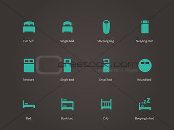 Flat furniture and bed icons set.