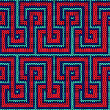 Knitting seamless pattern in red and blue hues