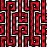 Knitting seamless pattern in red, white and black