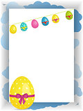 Easter portrait panel copy space with bunting and egg