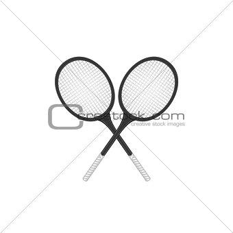 Crossed tennis rackets in retro design