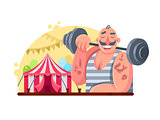 Funny circus weight lifter