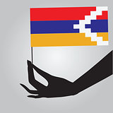 Hand with flag Nagorno-Karabakh