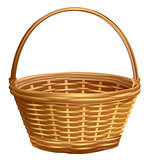 Empty wicker basket with handle arc