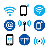 WiFi network, wireless internet zone, smartphone with WIFI icons set
