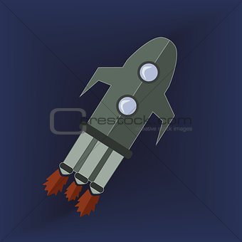 Grey Rocket in Space Icon