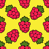Seamless raspberry background yellow pattern