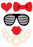 Party accessories set - glasses, necklace, lips
