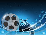 Illustration of a film stripe reel on shiny blue movie background