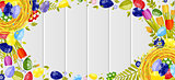 Happy Easter background colored eggs, spring decoration, leave, tulip flower design element in flat style
