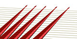 five red arrows on a yellow strings isometrics
