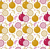 Onions seamless pattern. Bulb onion endless background, texture. Vegetable . Vector illustration