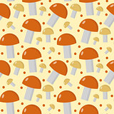 Mushrooms seamless pattern. Boletus edulis endless background, texture. Vegetable . Vector illustration