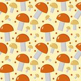 Mushrooms seamless pattern. Boletus edulis endless background, texture. Vegetable . Vector illustration