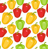 Bulgarian pepper seamless pattern. Paprika yellow, green, red, endless background, texture. Vegetable . Vector illustration.