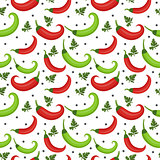 Chili peppers seamless pattern. Pepper red and green endless background, texture. Vegetable . Vector illustration