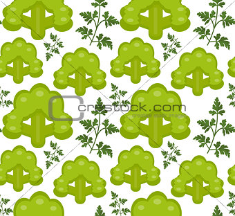 Broccoli seamless pattern. Healthy food endless background, texture. Vegetable backdrop. Vector illustration.