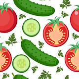 Salad seamless pattern. Tomato and cucumber endless background, texture. Vegetable backdrop. Vector illustration.