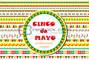 Cinco de Mayo celebration set of borders, ornaments, bunting. Flat style, isolated on white background. Vector illustration, clip art.