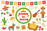 Cinco de Mayo celebration in Mexico, icons set, design element, flat style.Collection objects for Cinco de Mayo parade with pinata, food, sambrero, tequila, cactus, flag. Vector illustration, clip art