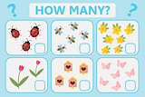 Childrens educational logic game. Mathematical task. How many. Vector illustration.