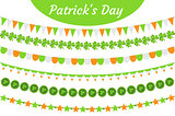 St. Patrick s Day garland set. Festive decorations bunting. Party elements, flags, shamrock, clover. Isolated on white background. Vector illustration, clip art.