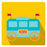 Circus trailer, wagon icon flat style with long shadows, isolated on white background. Vector illustration.