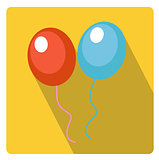 Balloons for celebration icon flat style with long shadows, isolated on white background. Vector illustration.