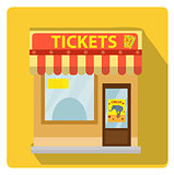 Cashier building with tickets to the circus icon flat style with long shadows, isolated on white background. Vector illustration.