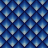 Knitting seamless geometric pattern in blue hues