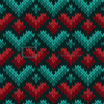 Knitting seamless colour pattern with stylized hearts